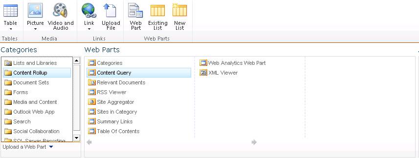 selecting the Content Query web part